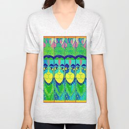 HANUMAN QUAD-BLUE Unisex V-Neck