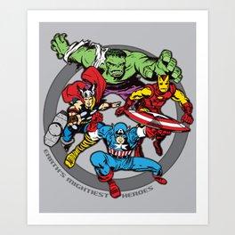 Earth's Mightiest Heroes Team Art Print