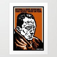 camus Art Prints featuring ALBERT CAMUS QUOTATION by Lestaret