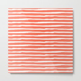 Thin Stripes White on Deep Coral Metal Print