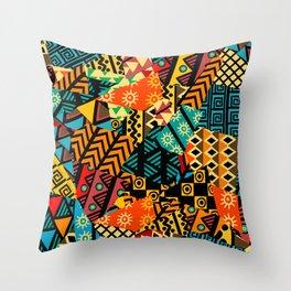 African geometric motifs Throw Pillow