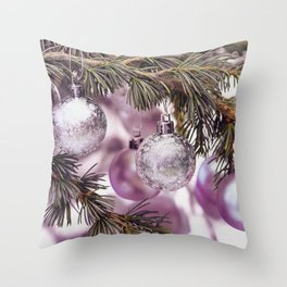 Pink Christmas shimmering baubles twig Throw Pillow