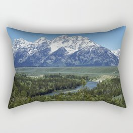 Spectacular peaks in the Teton Range seem to explode from the valley in Grand Teton National Park in Rectangular Pillow