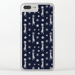 Cats Climbing Flowers Navy Blue Clear iPhone Case
