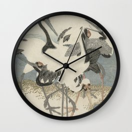 Japanese Woodcut: Cranes on the Water Wall Clock