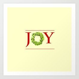 JOY Christmas Wreath  Art Print