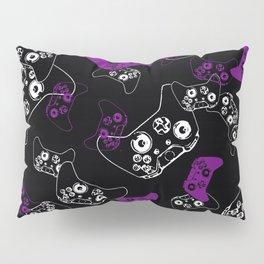 Video Game Purple on Black Pillow Sham