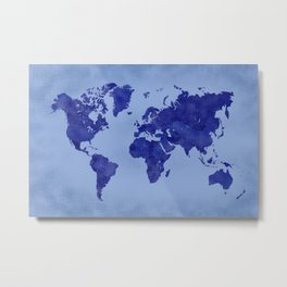 Vintage and distressed blue world map Metal Print