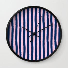 Blue and Pink Cabana Stripes Palm Beach Preppy Wall Clock