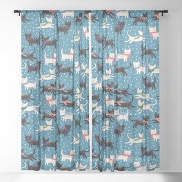 Cats in Colorful Scarves Sheer Curtain
