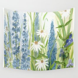 Watercolor Botanical Garden Flower Wildflower Blue Flower Garden Wall Tapestry