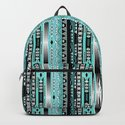 Abstract ethnic pattern in turquoise , black and white . by fuzzyfox85