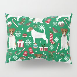 Jack Russell Terrier christmas festive holiday red and green dog lover gifts Pillow Sham