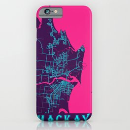 Mackay Neon City Map, Mackay Minimalist City Map Art Print iPhone Case