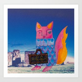 Francis Fox and Her Monogrammed Luggage Art Print