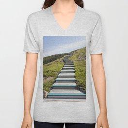 stairs up the hillside Unisex V-Neck