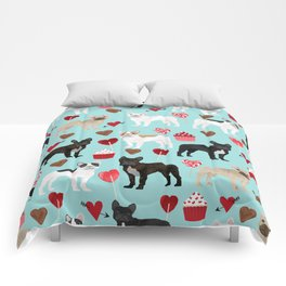 English Bulldog valentines day hearts cupcakes dog pattern gifts dog breeds by pet friendly Comforters