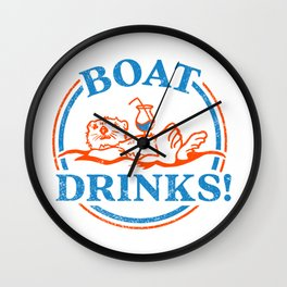 """""""Boat Drinks"""" Cute & Funny Otter Drinking A Cocktail Wall Clock"""