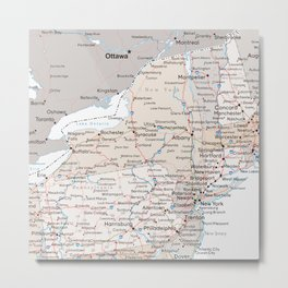 Map of the state of New York Metal Print