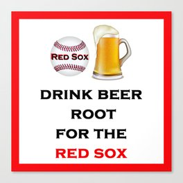 Red Sox Team Baseball Fans Beer Canvas Print