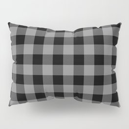 Gray and Black Lumberjack Buffalo Plaid Fabric Pillow Sham