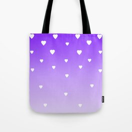 Purple Ombre with White Hearts Tote Bag