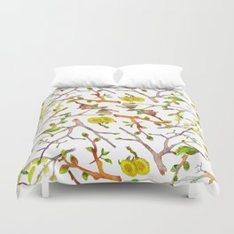 Spring pattern - branches, buds and flowers Duvet Cover