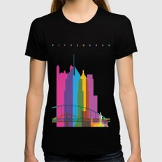 Shapes of Pittsburgh. Accurate to scale LARGE Womens Fitted Tee Black