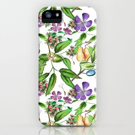 Floral naïf pattern iPhone Case