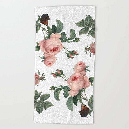Rose Garden Butterfly Pink on White Beach Towel