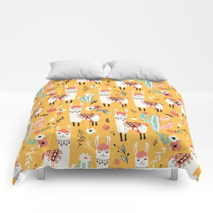 White Llama with flowers Comforters