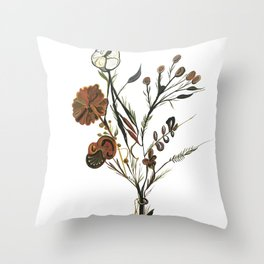 A Bouquet with the strangest flowers Throw Pillow