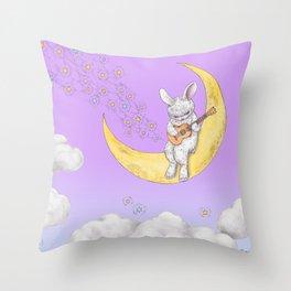 ukulele rabbit Throw Pillow