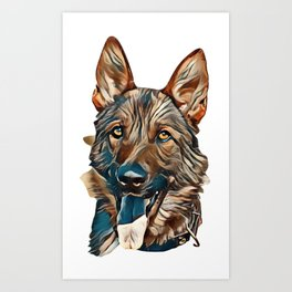 Portrait of  dog of  breed of German Shepherd in profil on  background of green grass        - Image Art Print