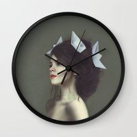 dolly parton Wall Clocks featuring Dolly by Lisa Griffin