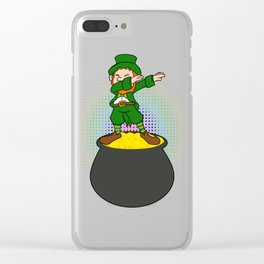 Funny Dabbing Leprechaun St Patricks Clear iPhone Case