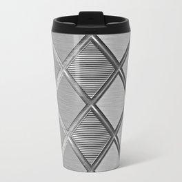 Silver Metallic Geometric Squares Pattern Travel Mug