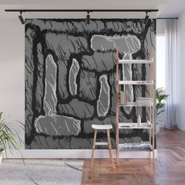 vintage psychedelic painting texture abstract background in black and white Wall Mural