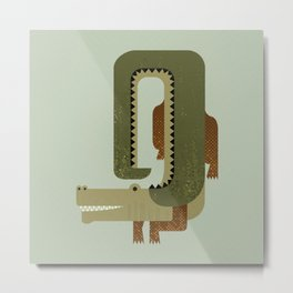 Whimsy Crocodile Metal Print