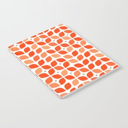 Red geometric floral leaves pattern in mid century modern style Notebook