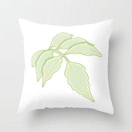 Serrated Edge Leaflet Illustration Throw Pillow