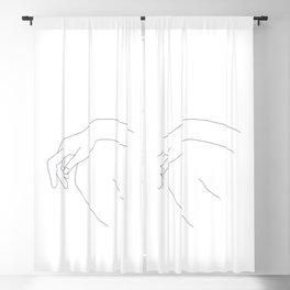 Hand on knee black and white illustration - Ana Blackout Curtain