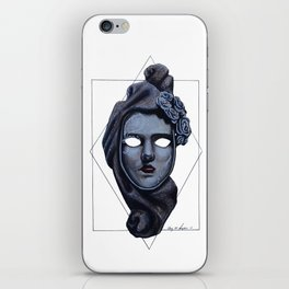 Female Venetian Mask | Watercolor and Colored Pencil  iPhone Skin