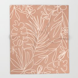 Engraved Tropical Line Throw Blanket