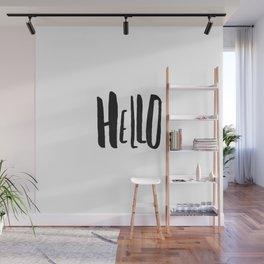 Handwritten Hello - Simple Black and White Watercolor Wall Mural