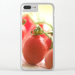 Italian tomatoes in green light Clear iPhone Case
