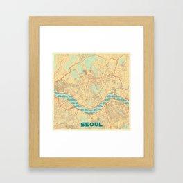 Seoul Map Retro Framed Art Print