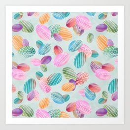 Easter eggs //Watercolor eggs on green wash background Art Print
