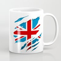 british flag Mugs featuring British Flag Pride by northside
