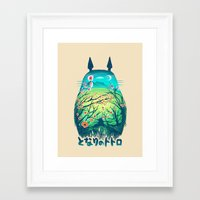 kawaii Framed Art Prints featuring He Is My Neighbor by Victor Vercesi
